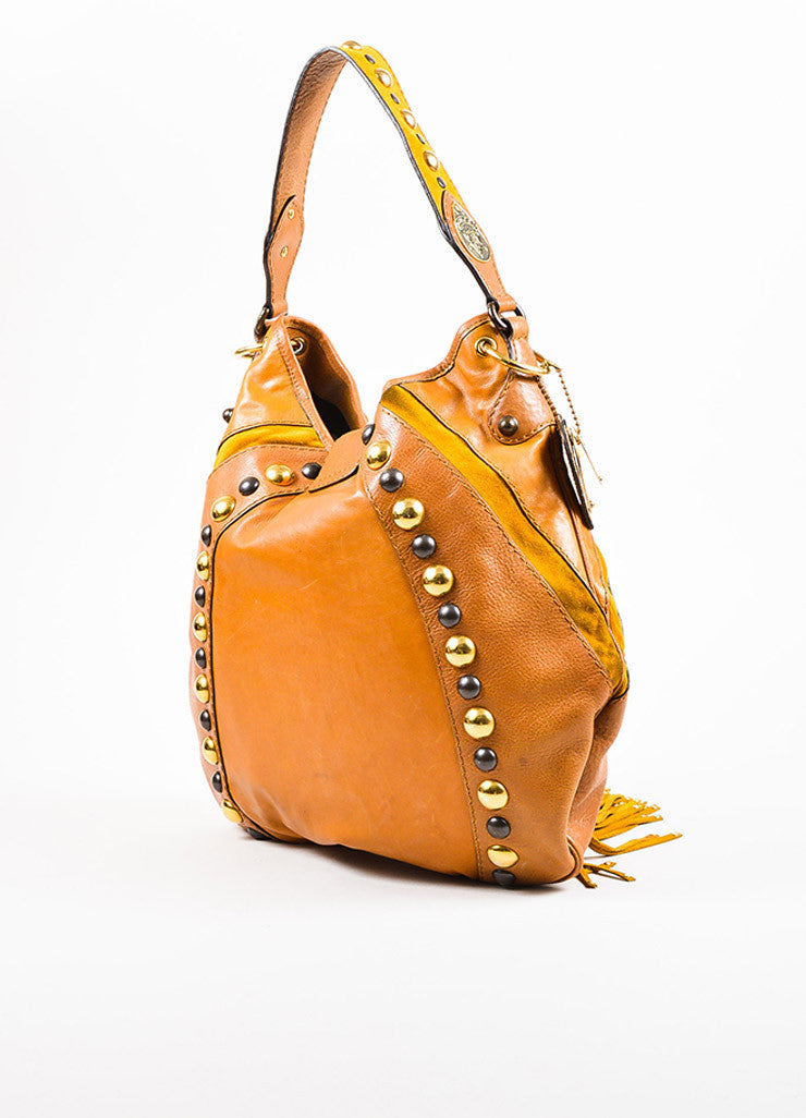"Gucci Brown Tan Leather Fringe Studded Large ""Babouska"" Hobo Bag Back"