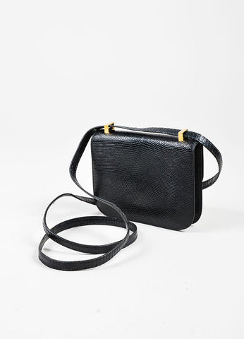 "Black and Gold Toned Hermes ""Micro Constance"" 'H' Logo Lizard Leather Crossbody Bag Backview"