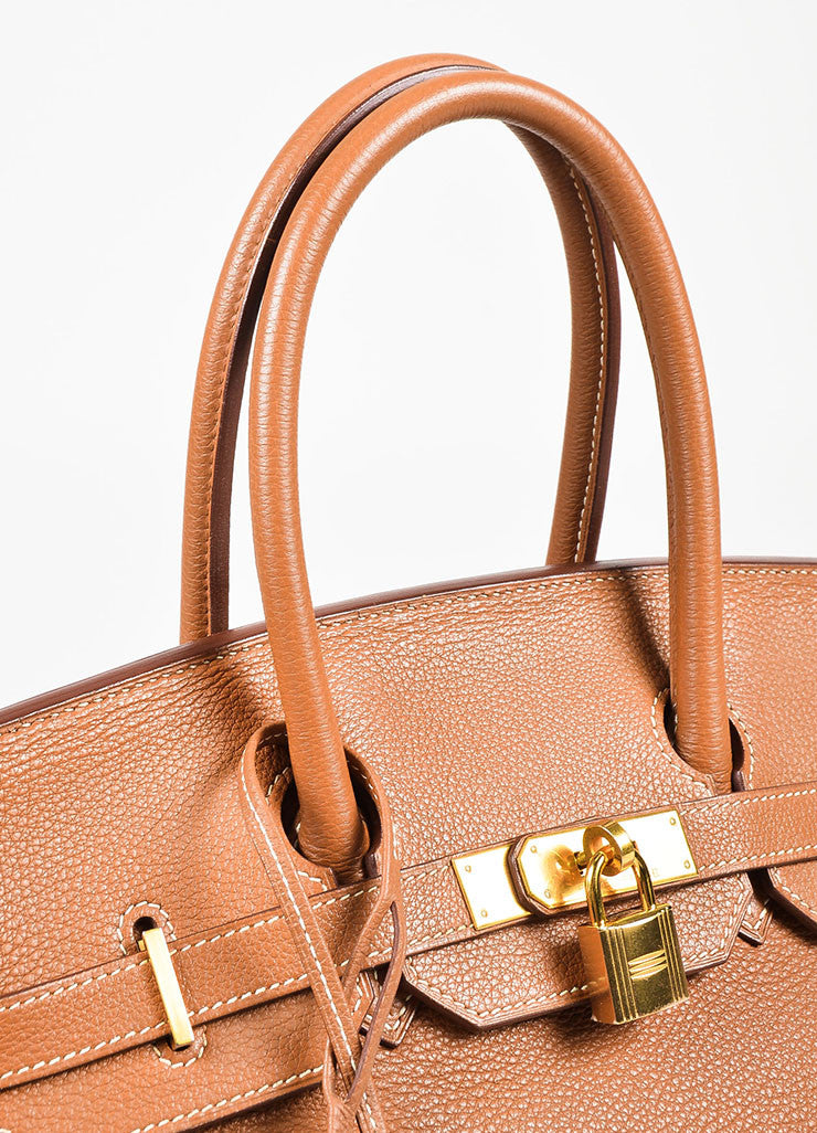 "Hermes ""Gold"" Brown Clemence Leather Top Handle ""Birkin 35"" Tote Bag Detail 3"