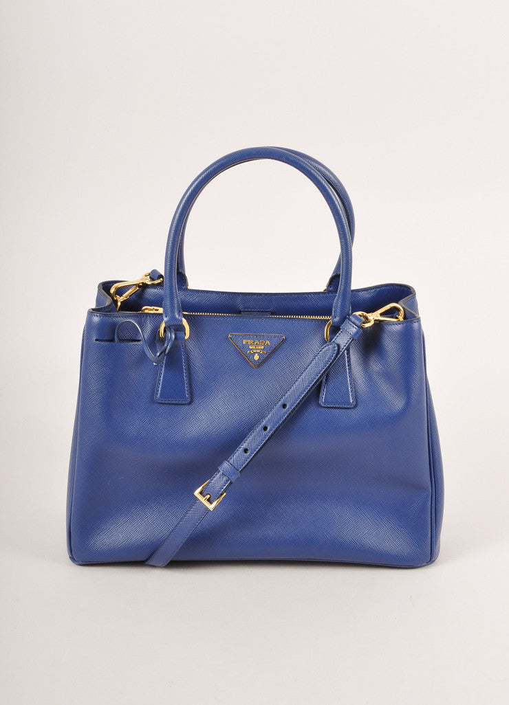 "Prada Blue Saffiano Leather ""Lux"" Tote Bag Frontview"