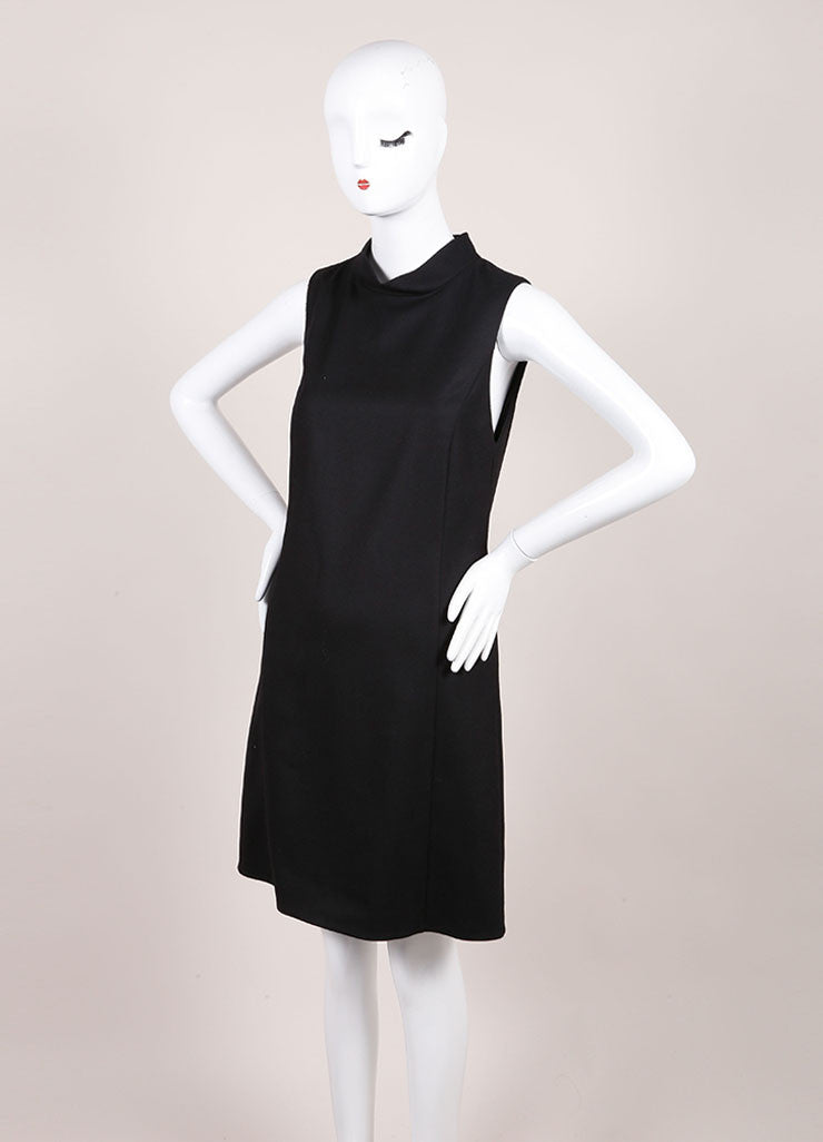 Gucci New With Tags Black Wool and Cashmere Sleeveless Shift Dress Sideview