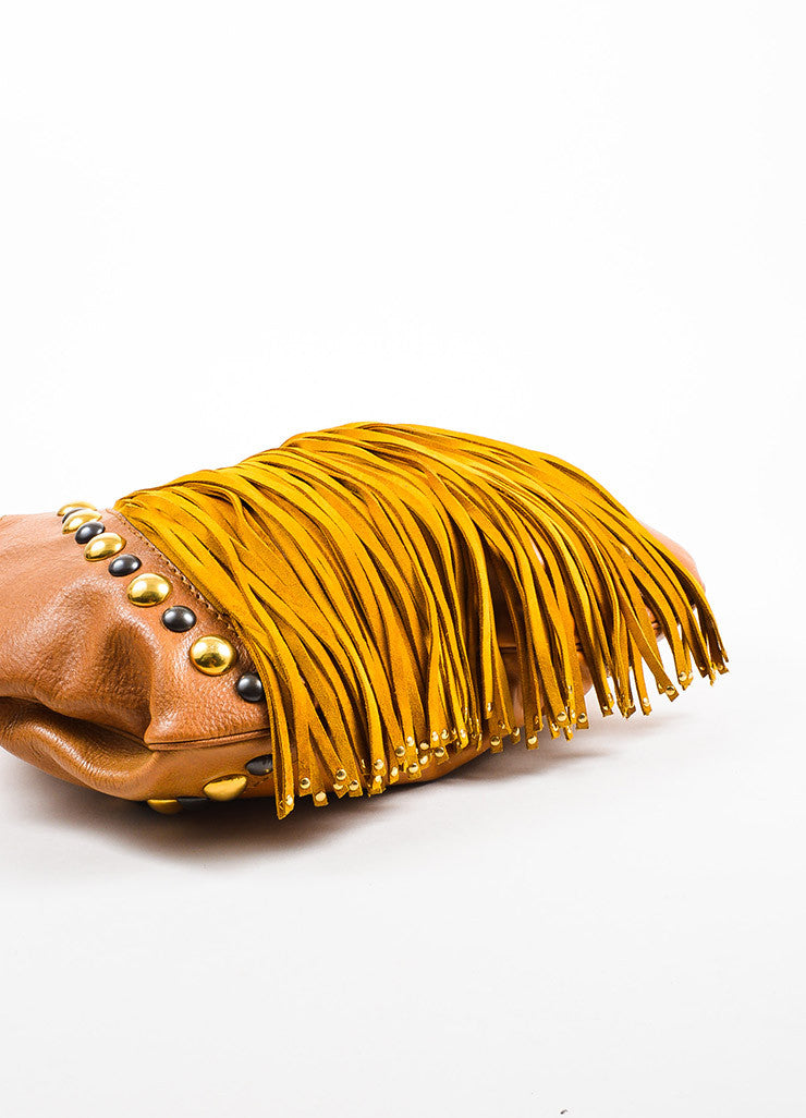 "Gucci Brown Tan Leather Fringe Studded Large ""Babouska"" Hobo Bag Detail"