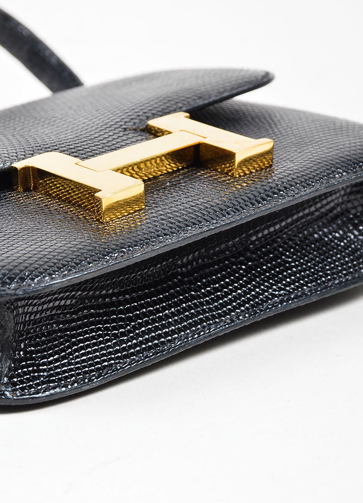 "Black and Gold Toned Hermes ""Micro Constance"" 'H' Logo Lizard Leather Crossbody Bag Bottom View"