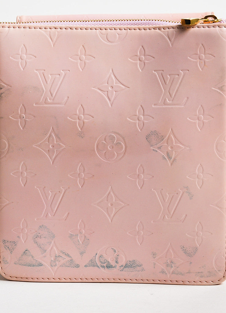 "Louis Vuitton Baby Pink Vernis Leather Embossed ""Mott"" Crossbody Bag Detail 3"