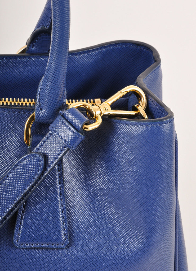 "Prada Blue Saffiano Leather ""Lux"" Tote Bag Detail 2"