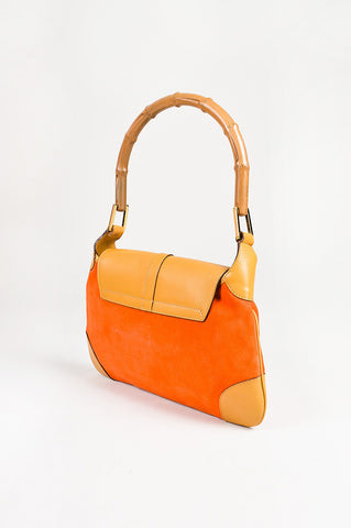 "Gucci Orange & Tan Suede Leather Bamboo Handle ""Jackie"" Bag side"