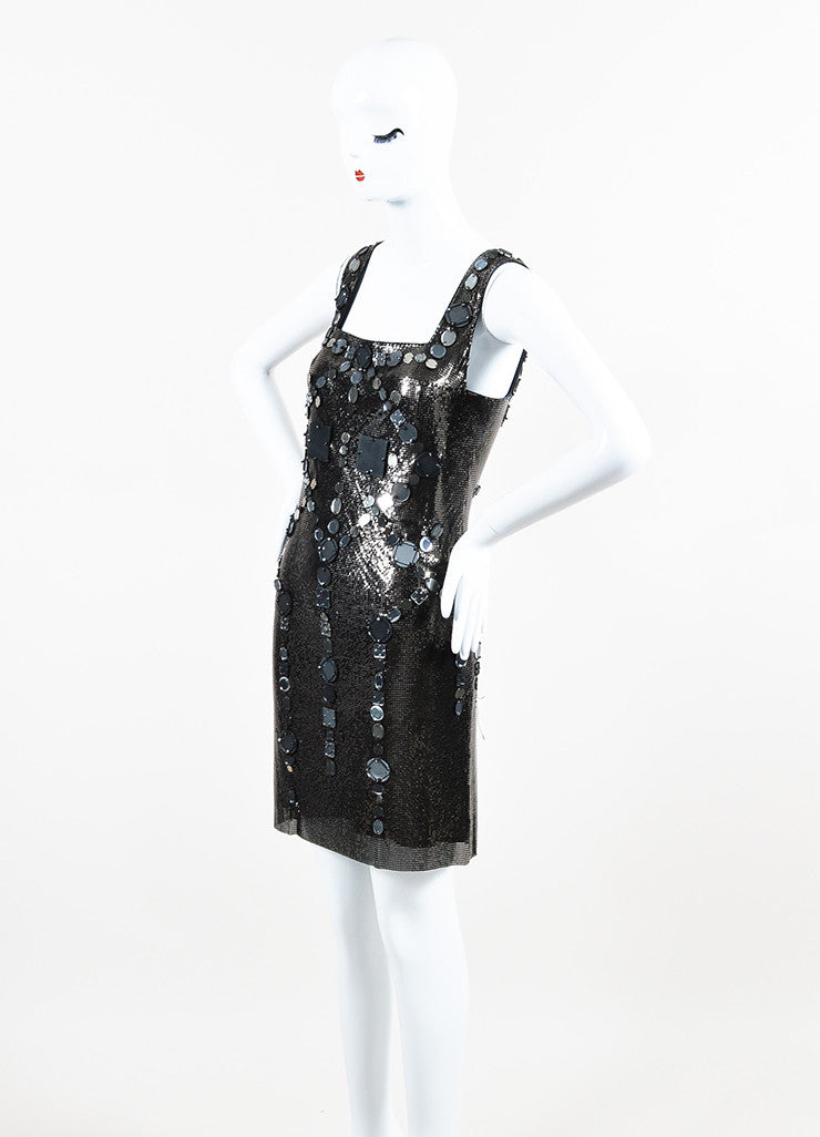 Grey Versace Chain Mail Mirror Embellished Scoop Back Shift Dress Sideview