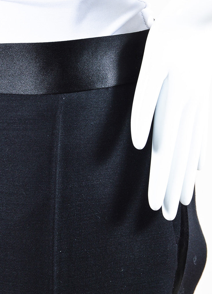 Black Victoria Beckham Wool Satin Trim Skinny Crop Tuxedo Pants Detail