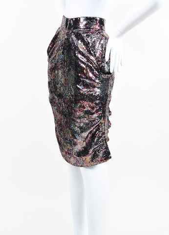 Vivienne Westwood Red Label Purple Pink Silver Sequined Cascade Skirt Side
