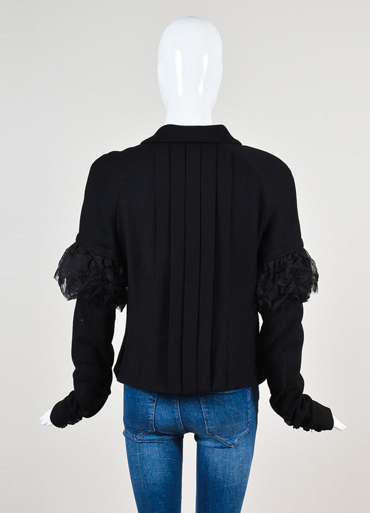 Chanel Black Woven Wool Ruched Silk Chiffon Blazer Jacket Backview