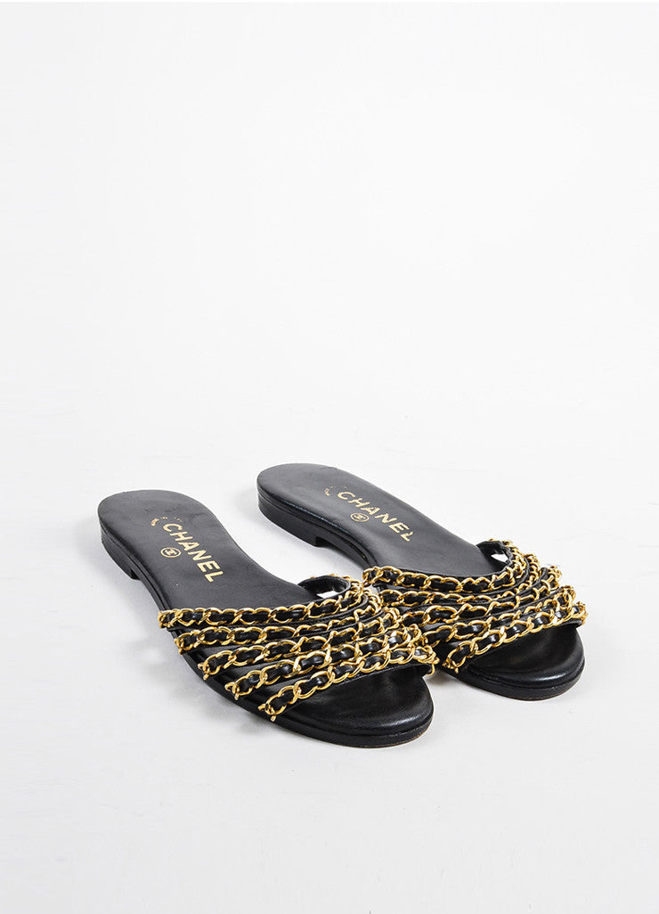 Black Leather Chanel Gold Toned Metal Chain Link Strappy Flat Sandals Frontview
