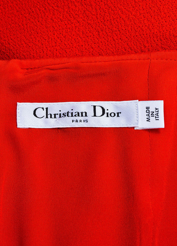 Red Christian Dior Crepe Wool Scalloped Slit Flare Pencil Skirt Brand
