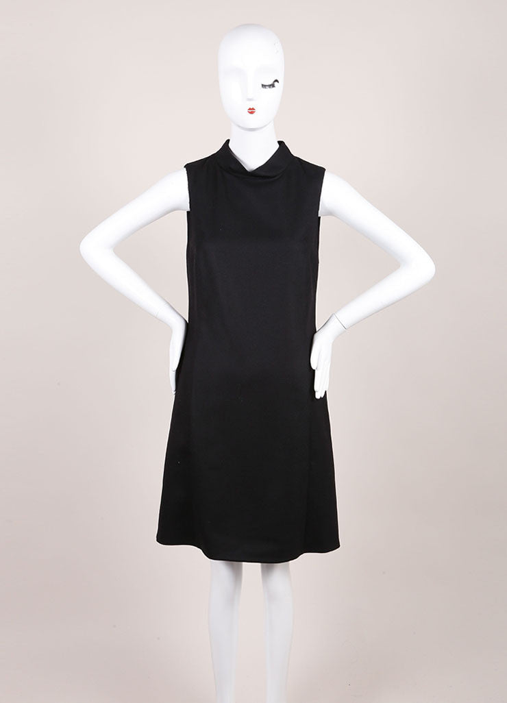 Gucci New With Tags Black Wool and Cashmere Sleeveless Shift Dress Frontview