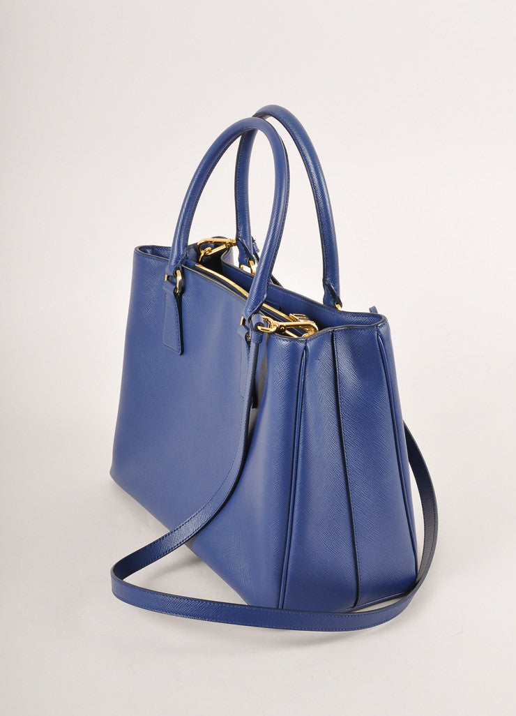 "Prada Blue Saffiano Leather ""Lux"" Tote Bag Sideview"