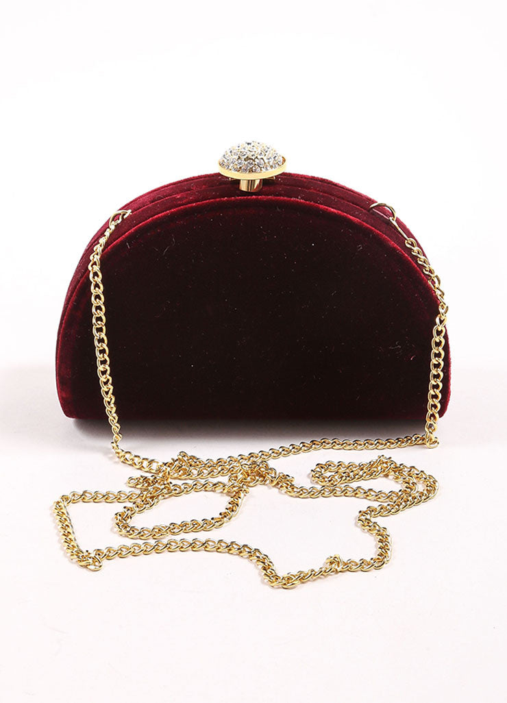 Carla Marchi Red Velvet and Rhinestone Clutch Strap