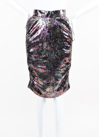 Vivienne Westwood Red Label Purple Pink Silver Sequined Cascade Skirt Front