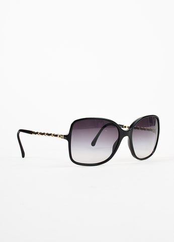 Chanel Black and Gold Toned Chain Arm 'CC' Logo Sunglasses Sideview