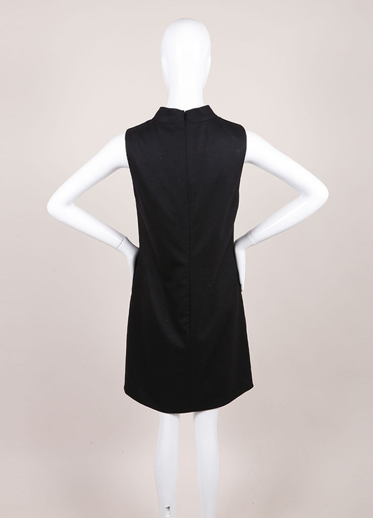 Gucci New With Tags Black Wool and Cashmere Sleeveless Shift Dress Backview