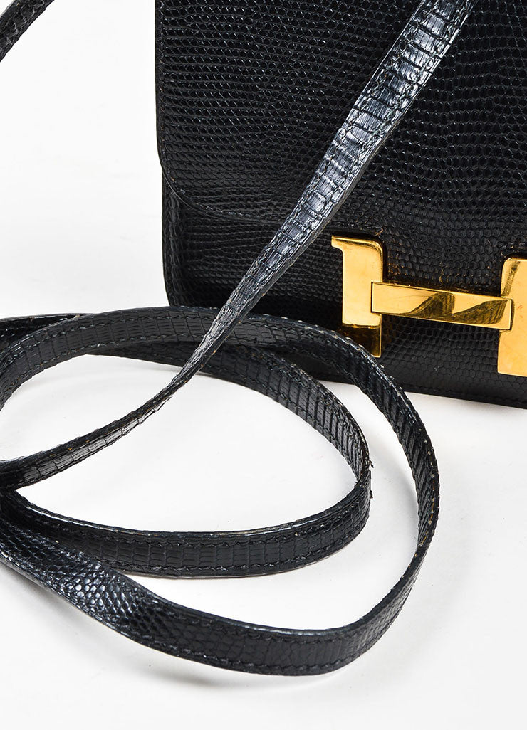 "Black and Gold Toned Hermes ""Micro Constance"" 'H' Logo Lizard Leather Crossbody Bag Detail 2"