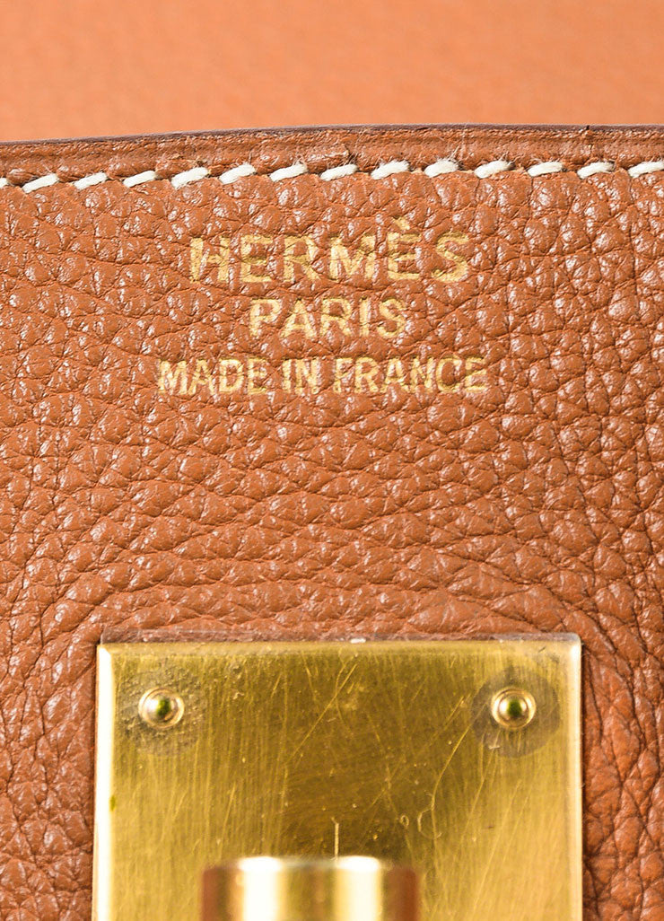 "Hermes ""Gold"" Brown Clemence Leather Top Handle ""Birkin 35"" Tote Bag Brand"
