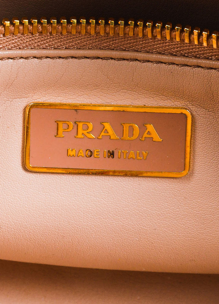 "Beige, Taupe, and Orange Prada Saffiano Leather Floral Print ""Bauletto"" Crossbody Bag Brand"