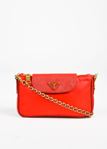 Prada Red and Gold Toned Nylon Saffiano Leather Trim Chain Link Shoulder Bag Frontview