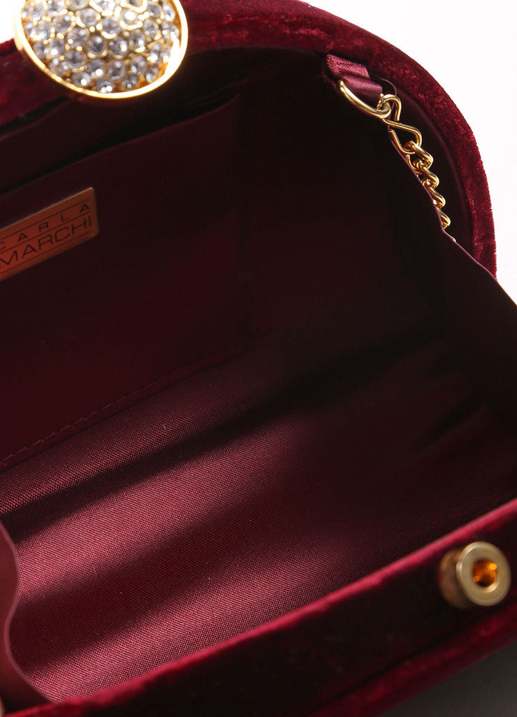 Carla Marchi Red Velvet and Rhinestone Clutch Detail 2