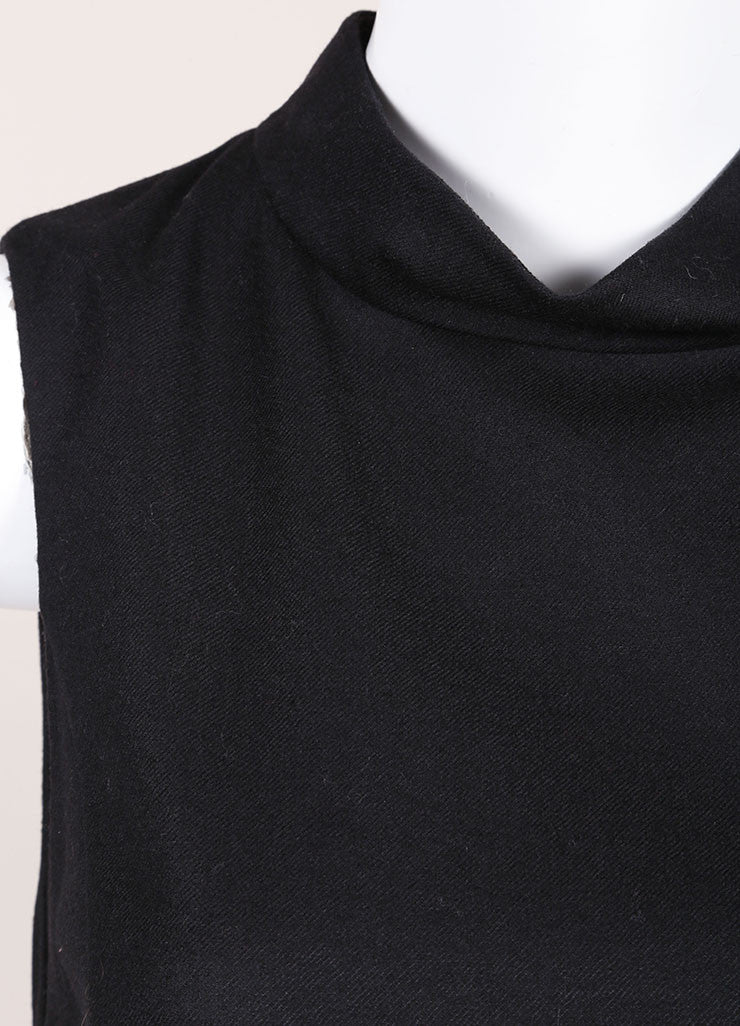 Gucci New With Tags Black Wool and Cashmere Sleeveless Shift Dress Detail