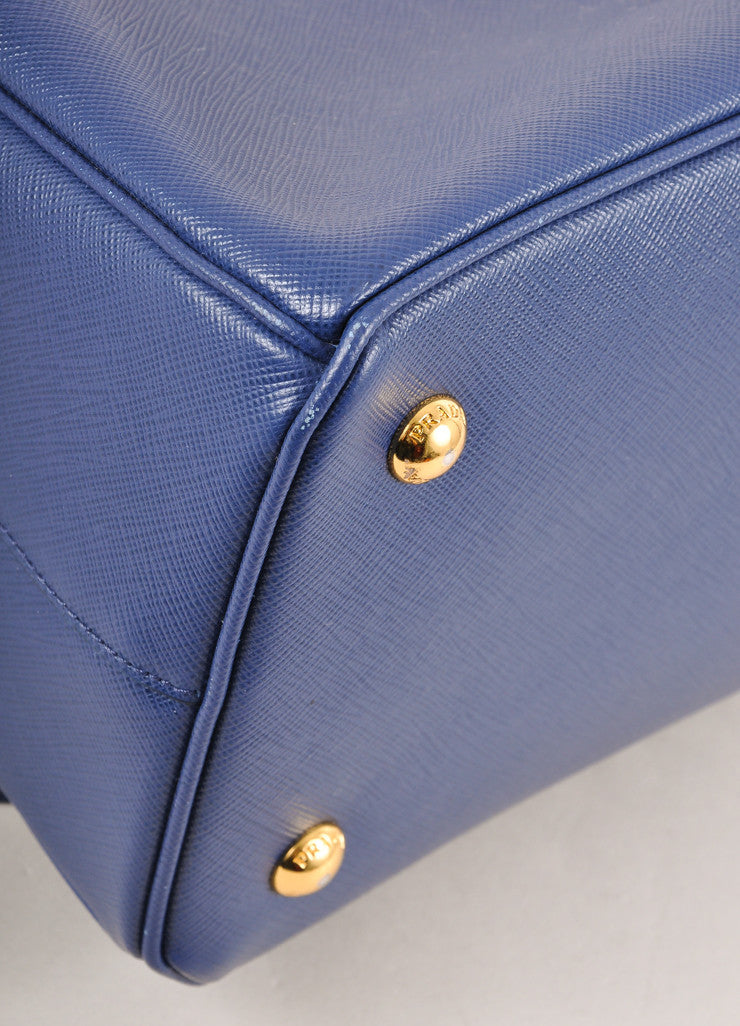 "Prada Blue Saffiano Leather ""Lux"" Tote Bag Detail"