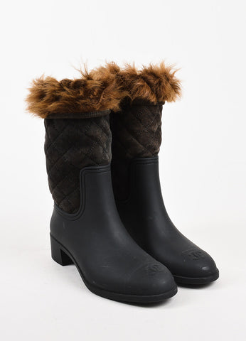 Chanel Black and Brown Rubber Quilted Suede Shearling Fur Rain Boots Frontview