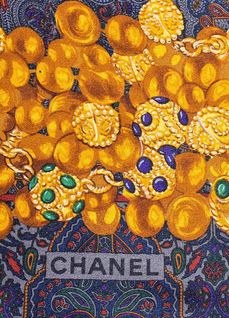 Paisley Chanel Silk Jewel Print Border Square Scarf Brand