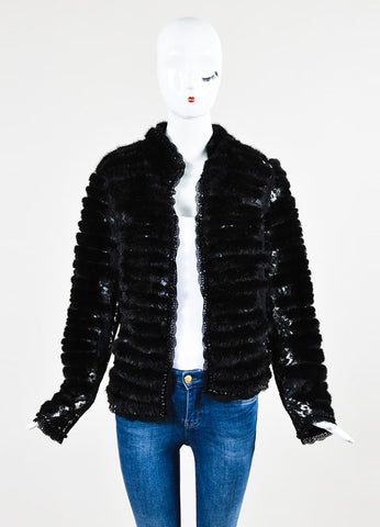 Escada Black Mink Fur Embroidered Floral Lace Beaded Jacket  Frontview