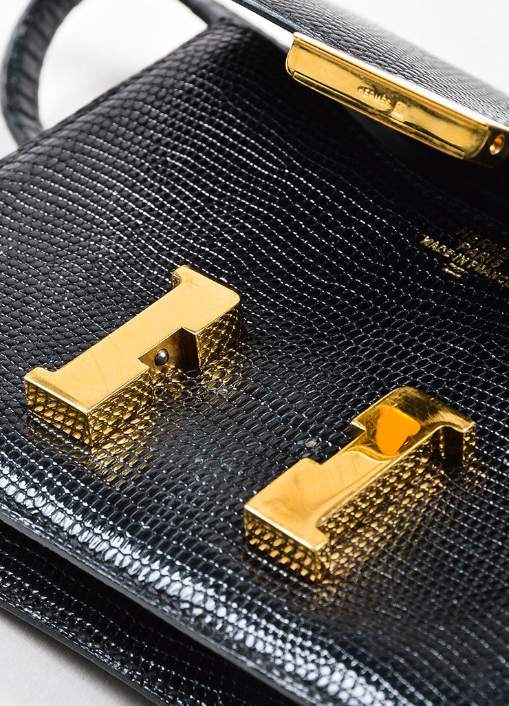 "Black and Gold Toned Hermes ""Micro Constance"" 'H' Logo Lizard Leather Crossbody Bag Detail 3"