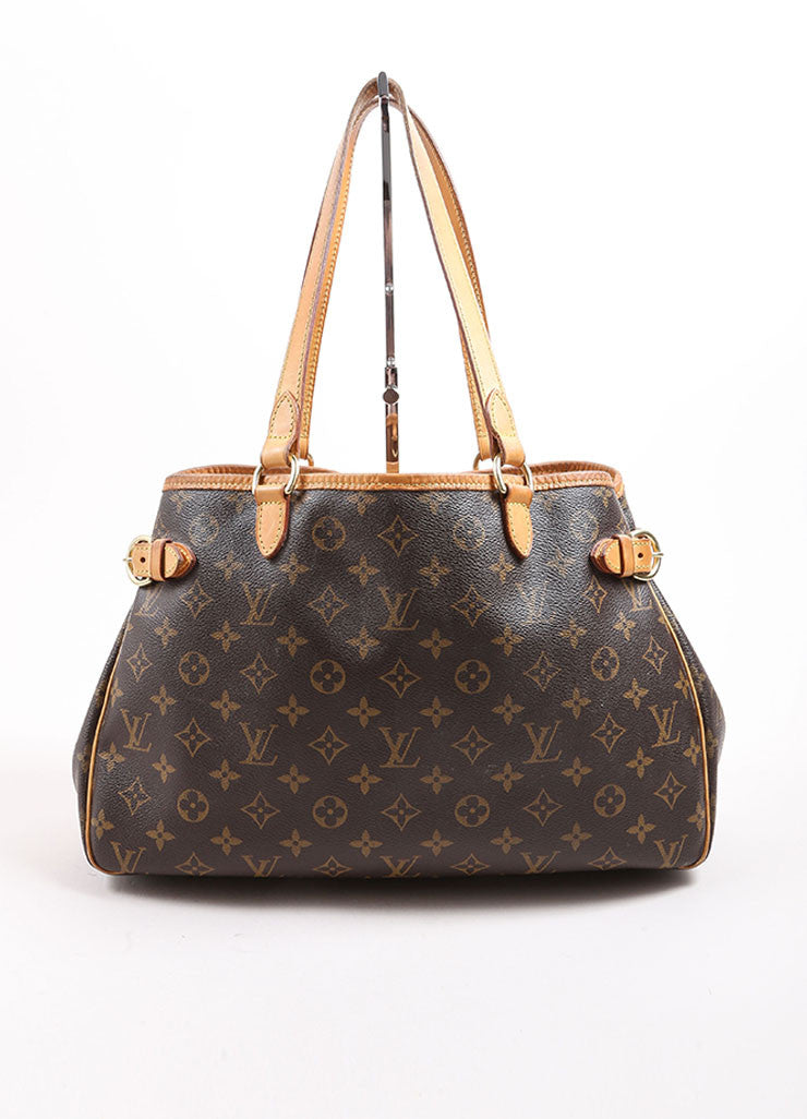 Louis Vuitton Brown and Tan Coated Canvas Monogram Tote Bag Frontview