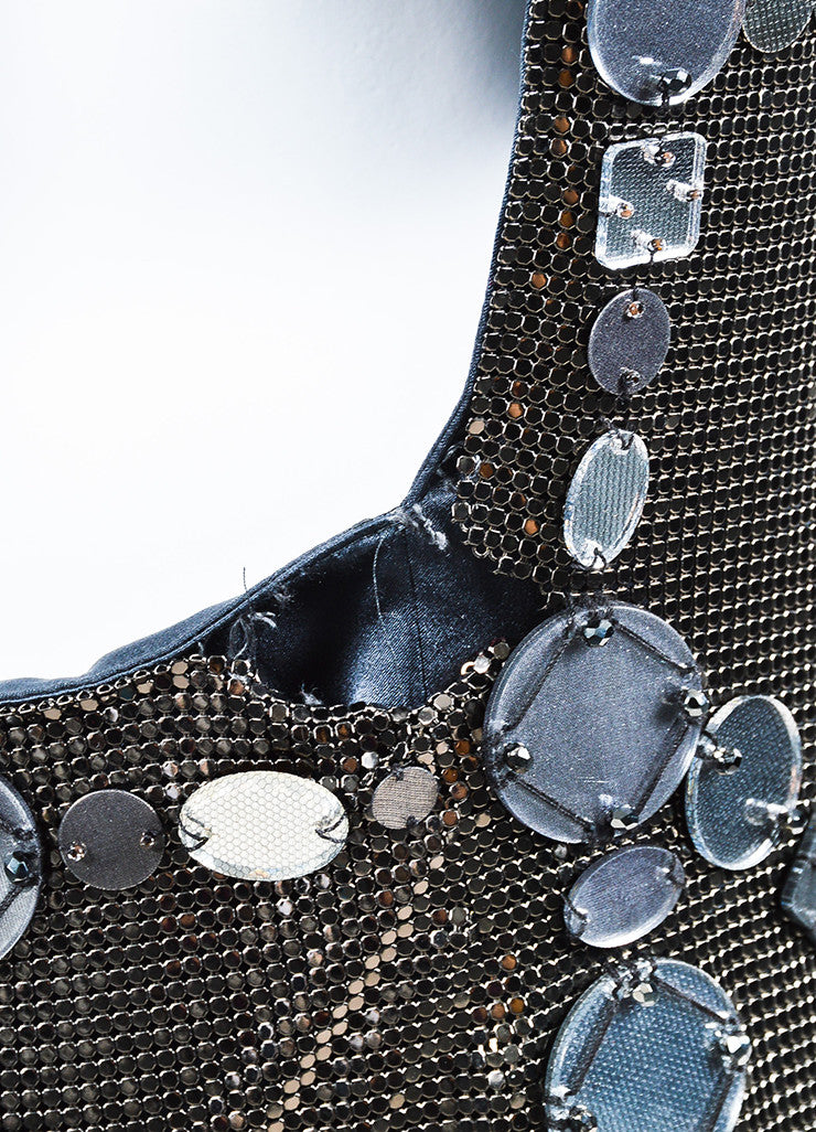 Grey Versace Chain Mail Mirror Embellished Scoop Back Shift Dress Detail 3