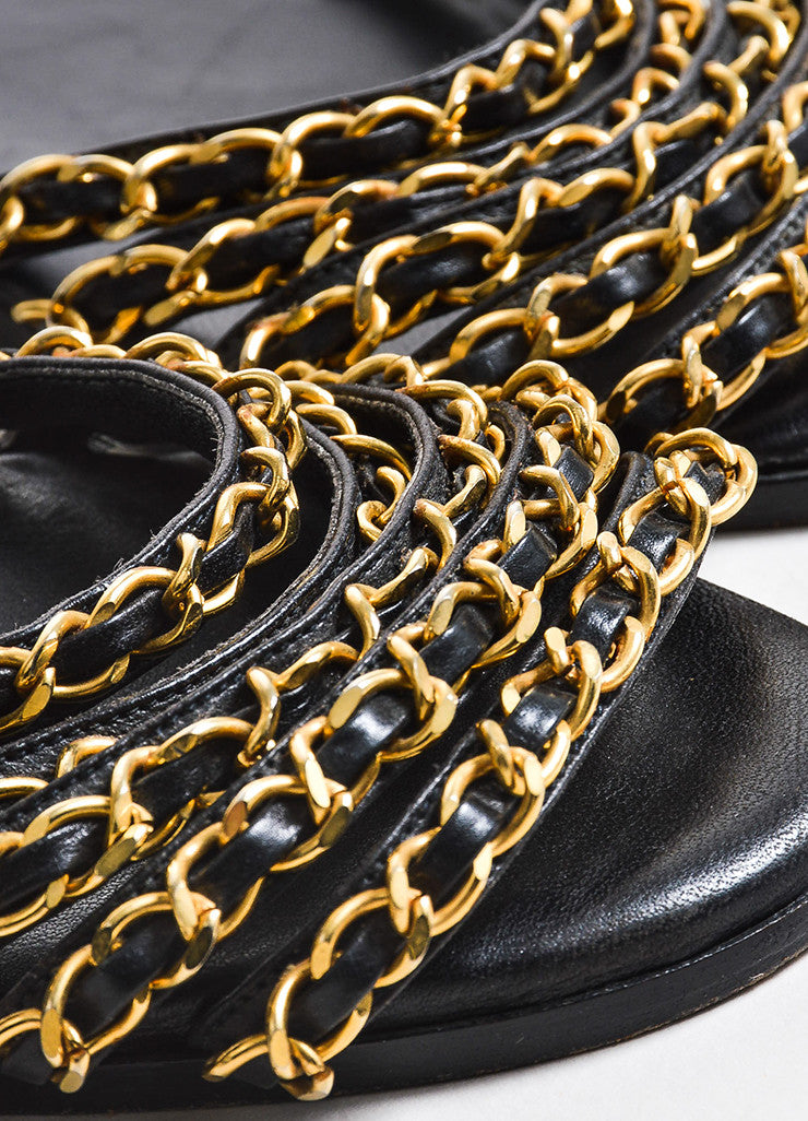 Black Leather Chanel Gold Toned Metal Chain Link Strappy Flat Sandals Detail