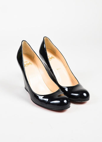 "Christian Louboutin ""Ron Ron Zeppa 80"" Black Patent Leather Wedge Heels Frontview"
