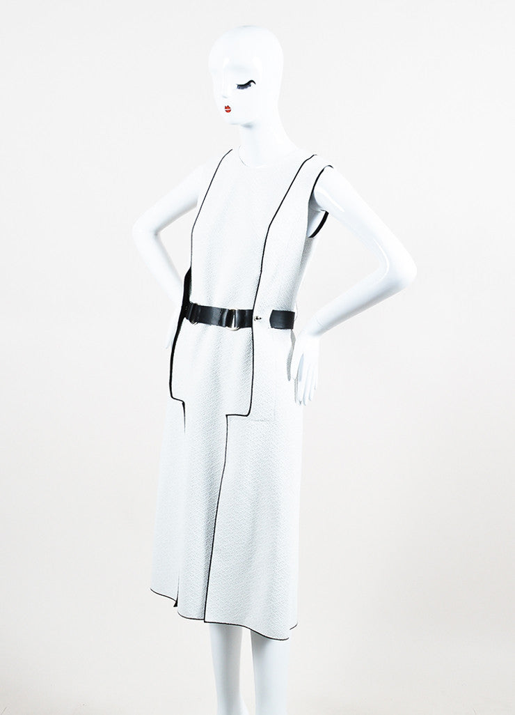 Derek Lam White and Black Textured Sleeveless Leather Belt Dress Sideview