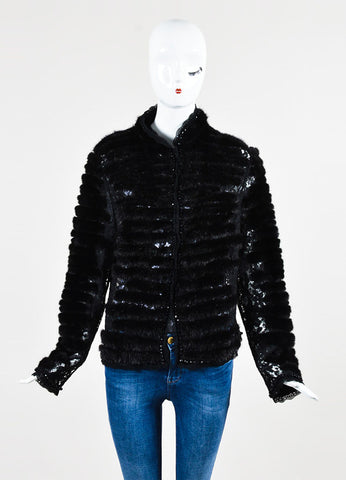 Escada Black Mink Fur Embroidered Floral Lace Beaded Jacket  Frontview 2