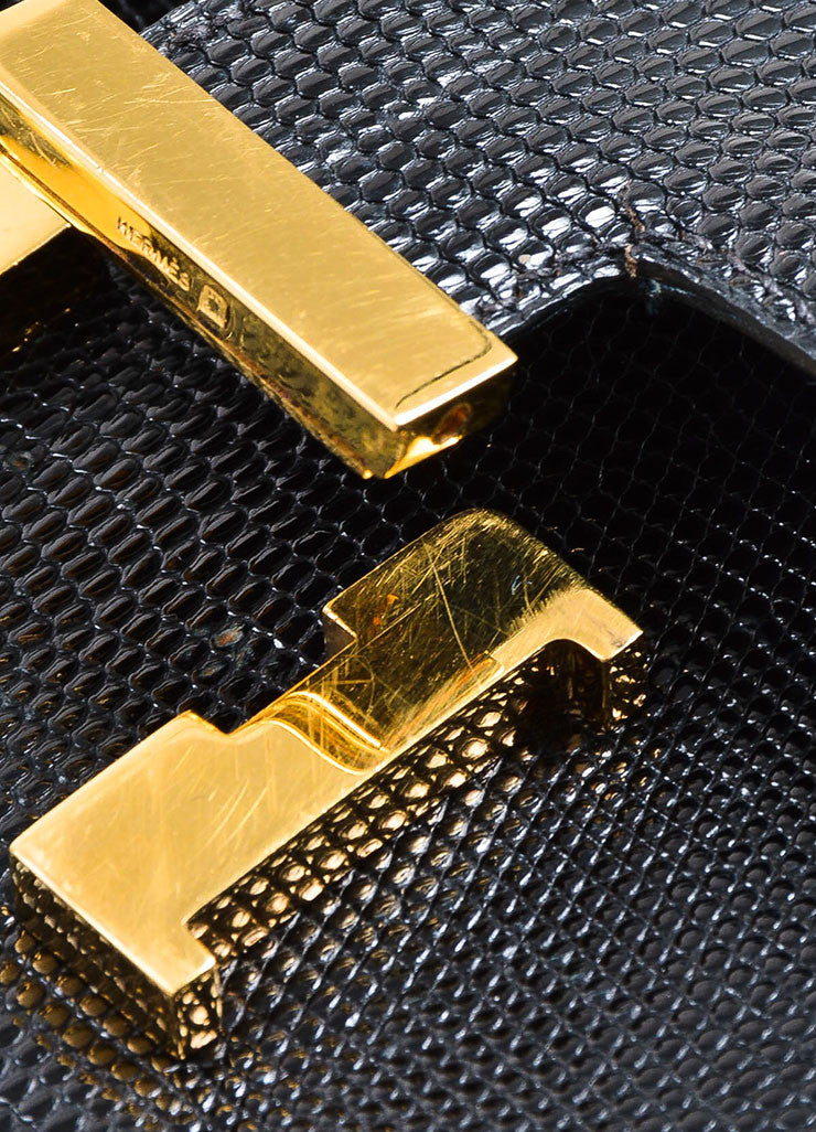 "Black and Gold Toned Hermes ""Micro Constance"" 'H' Logo Lizard Leather Crossbody Bag Detail 4"