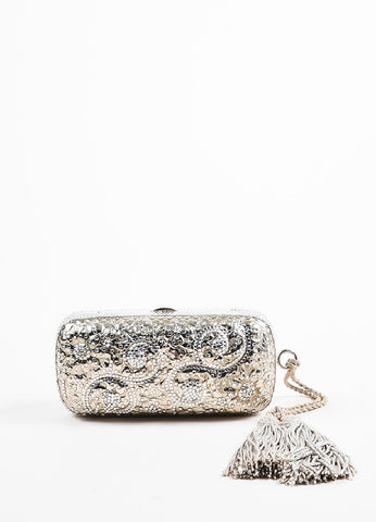 Judith Leiber Champagne Rhinestone Tassel Silver Toned Chain Strap Clutch Bag Frontview
