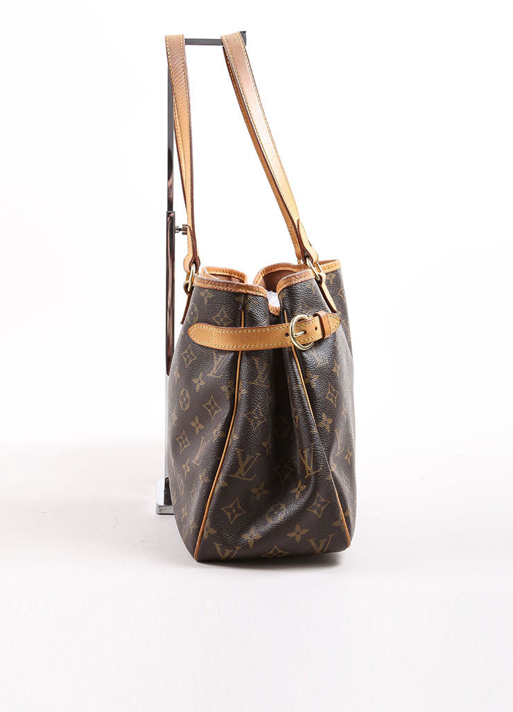 Louis Vuitton Brown and Tan Coated Canvas Monogram Tote Bag Sideview
