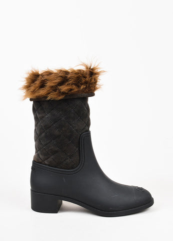 Chanel Black and Brown Rubber Quilted Suede Shearling Fur Rain Boots Sideview