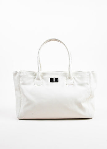 "Chanel Cream Leather Mademoiselle Turnlock ""Reissue Cerf"" Shoulder Tote Bag Frontview"