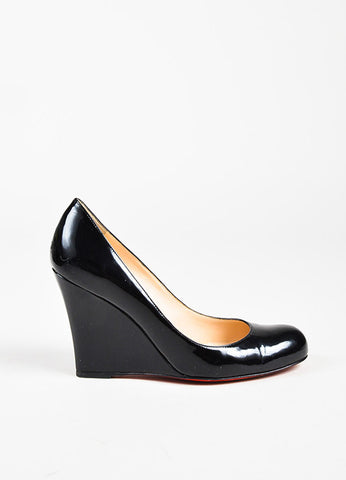 "Christian Louboutin ""Ron Ron Zeppa 80"" Black Patent Leather Wedge Heels Sideview"