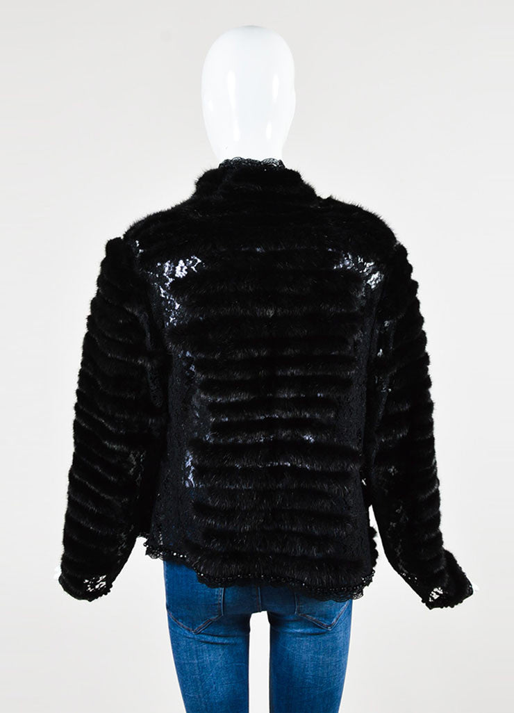 Escada Black Mink Fur Embroidered Floral Lace Beaded Jacket backview
