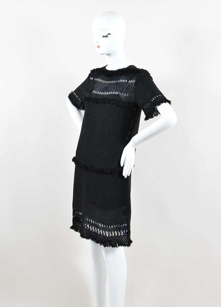 "Isabel Marant Black Knit Crochet Fringe Trim ""Tacoma"" Dress Sideview"
