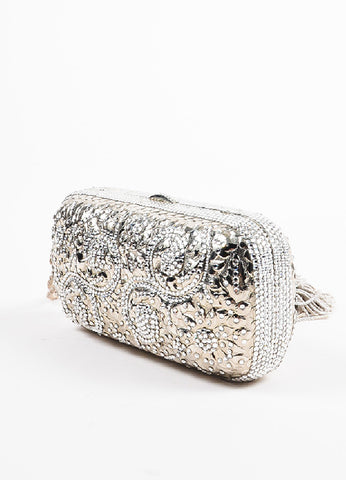 Judith Leiber Champagne Rhinestone Tassel Silver Toned Chain Strap Clutch Bag Sideview