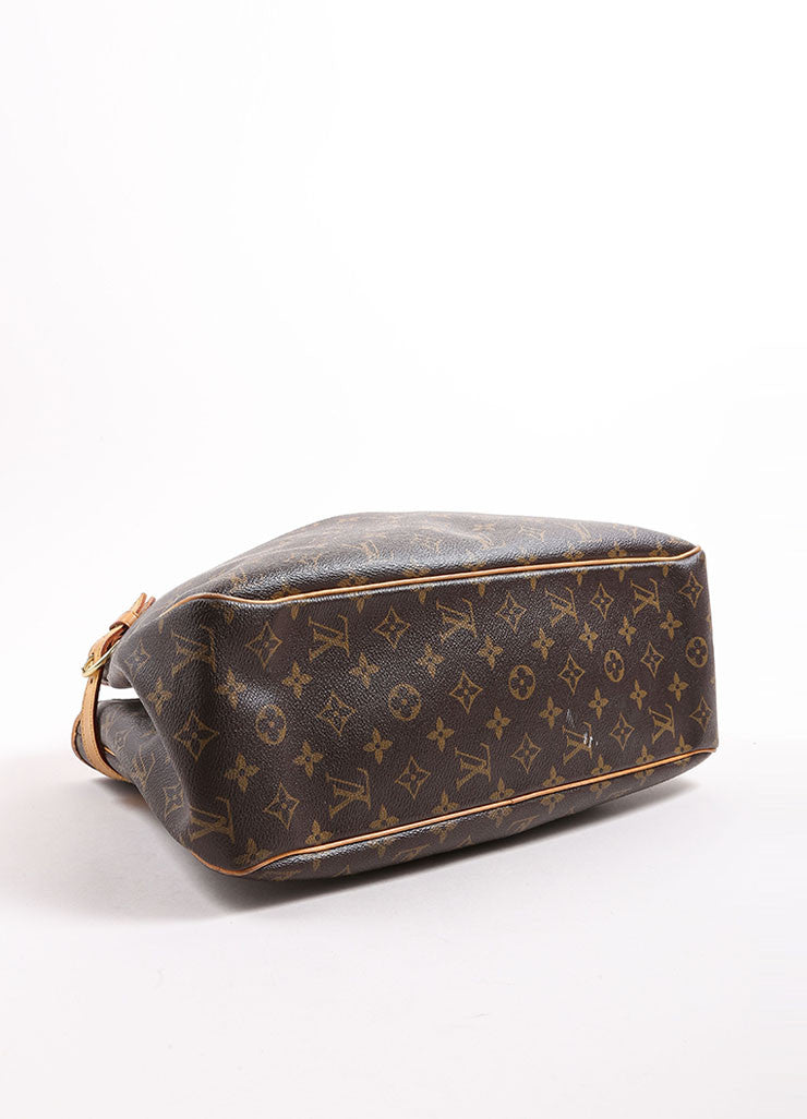 Louis Vuitton Brown and Tan Coated Canvas Monogram Tote Bag Bottom View