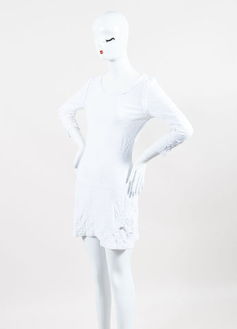 Chanel White Knit Eyelet Detailed Three Quarter Sleeve Dress Sideview